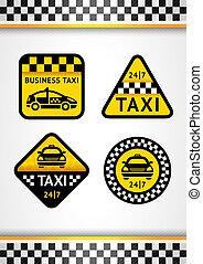taxi, ensemble, vertical, courses, -, retro, fond, autocollants