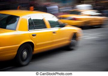 taxi, exceso de velocidad, amarillo, mancha de movimiento,...