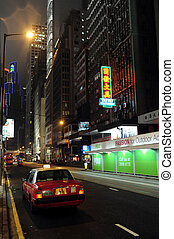taxi- fahrerhäuser, in, hongkong, porzellan
