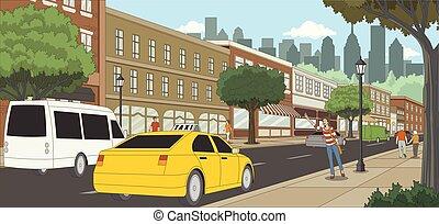 taxi, femme, city., gens., appeler, rue