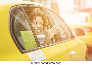 taxi, femme, conduite, américain, africaine, heureux