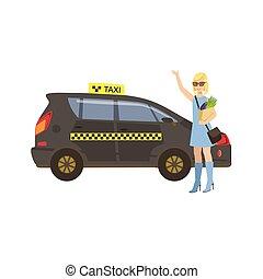 taxi, femme, voiture, attraper, épicerie, noir
