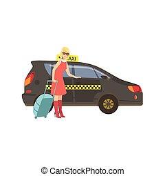 taxi, femme, voiture, noir, entrer, valise