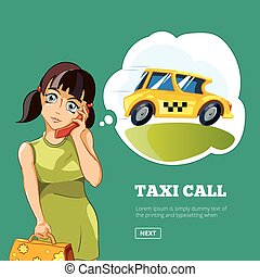 taxi, femme, yong, appeler