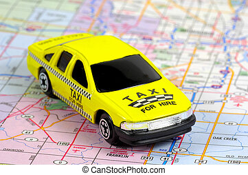 Taxi For Hire - Miniature Taxi on a map