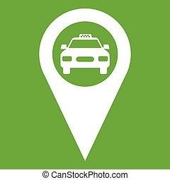 taxi, geo, vert, icône