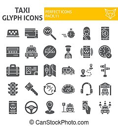 Taxi glyph icon set, car symbols collection, vector sketches, logo illustrations, cab signs solid pictograms package isolated on white background.