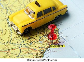 taxi, goupille carte, janeiro, de, rio