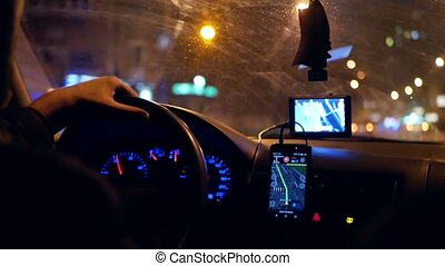 Taxi gps driver night