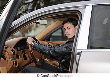 taxi, homme, voiture