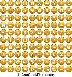 taxi, honderd, set, goud, iconen