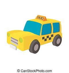 Taxi icon in cartoon style