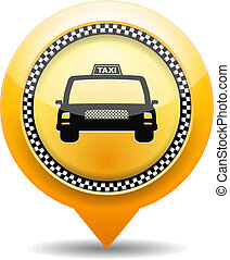 Taxi Icon - Orange map marker with taxi icon, vector eps10...