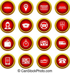 Taxi icon red circle set