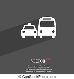 taxi icon symbol Flat modern web design with long shadow and space for your text. Vector