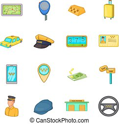 Taxi icons set, cartoon style