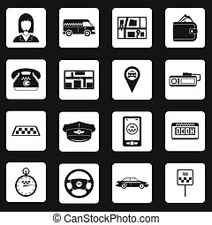 Taxi icons set in simple style