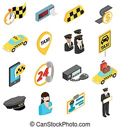 Taxi icons set, isometric 3d style