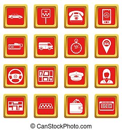 Taxi icons set red