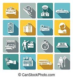 Taxi icons white set