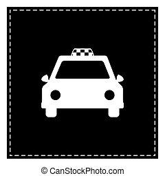 taxi, illustration., isoler, pièce, arrière-plan., noir, blanc, signe