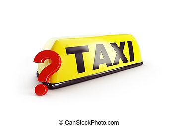 taxi, illustration, point interrogation, rendre, fond, blanc, choix, 3d