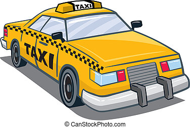Taxi - An Illustration of a yellow taxi with taxi on top and...