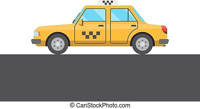 taxi, imagen, amarillo