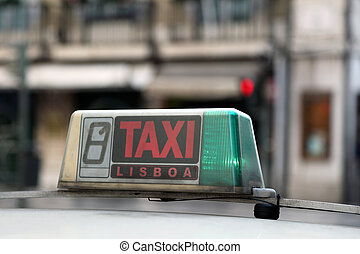Taxi in the city of Lisbon, Portugal