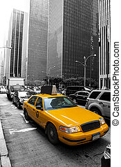 Taxi in the city - Yellow taxi in the black and white New...