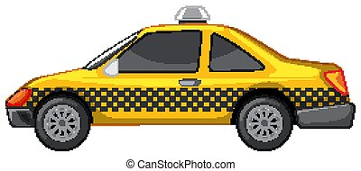 Taxi in yellow color on white background