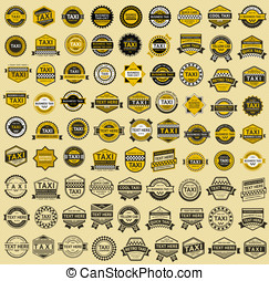 Taxi insignia - vintage style. Big set, vector illustration