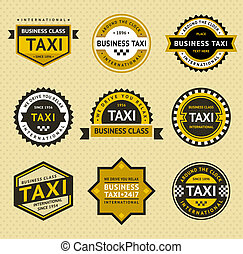 taxi, insignie, móda, -, vinobraní