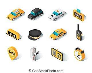 taxi, isométrico, conjunto, iconos