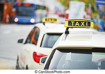 taxi jaune, taxi, voitures