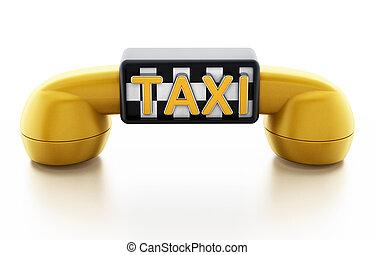 taxi, jeude dames, modèle, signe jaune, récepteur téléphone