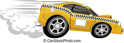 taxi, karikatúra, gyorsan