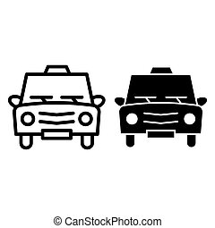 Taxi line and glyph icon. Cab vector illustration isolated on white. Car outline style design, designed for web and app. Eps 10.