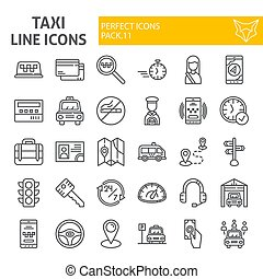 Taxi line icon set, car symbols collection, vector sketches, logo illustrations, cab signs linear pictograms package isolated on white background.