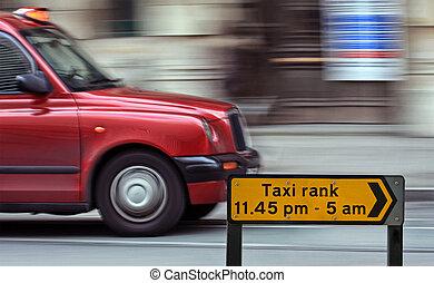 taxi, londres, casquette, vitesse, barbouillage
