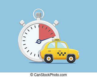 taxi, luego, coche amarillo, cronómetro