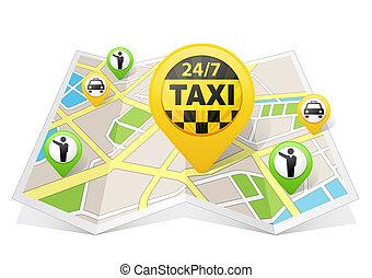 taxi, mapa, concepto, apps