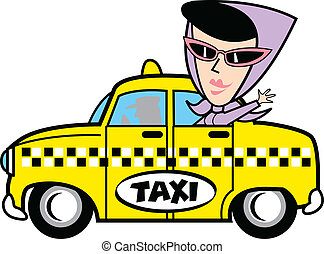 taxi, meisje, kunst, klem