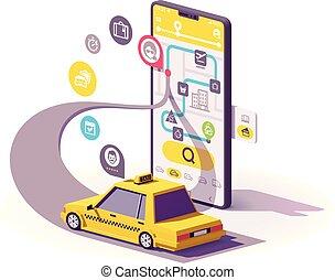 taxi, mobil, app, vektor, illustration