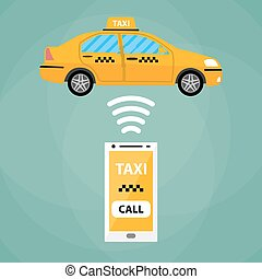 taxi, mobile, app, concept