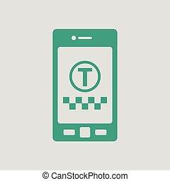 taxi, mobile, application, service, icône