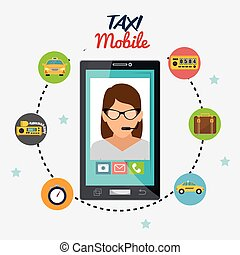 taxi mobile business transport call center icons
