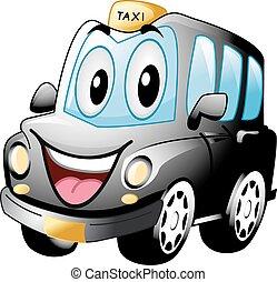 taxi, noir, mascotte