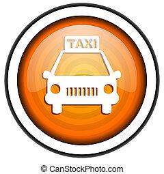 taxi orange glossy icon isolated on white background