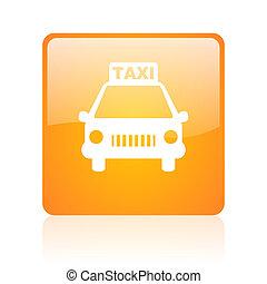 taxi orange square glossy web icon